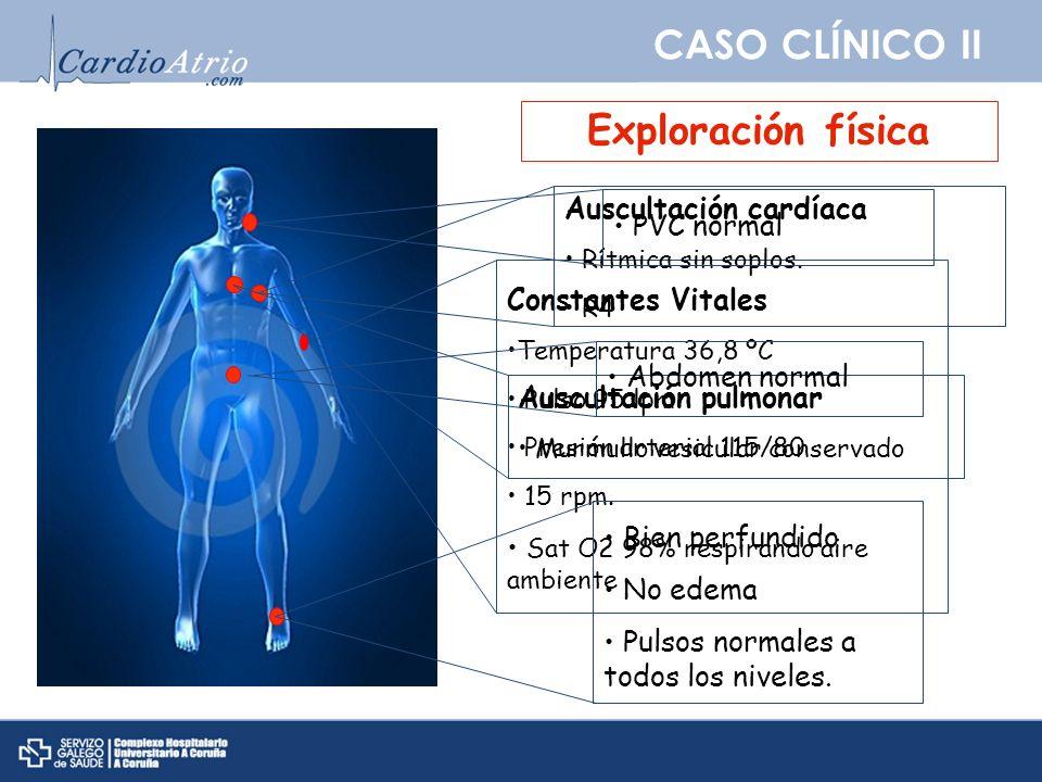 CASO CLÍNICO II Exploración física Auscultación cardíaca PVC normal