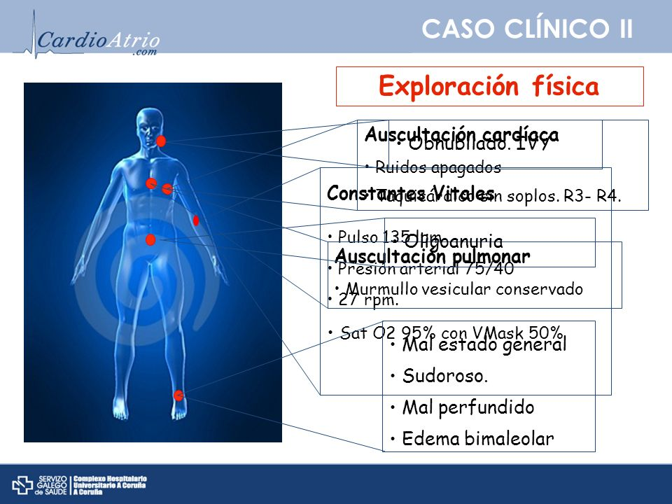 CASO CLÍNICO II Exploración física Auscultación cardíaca