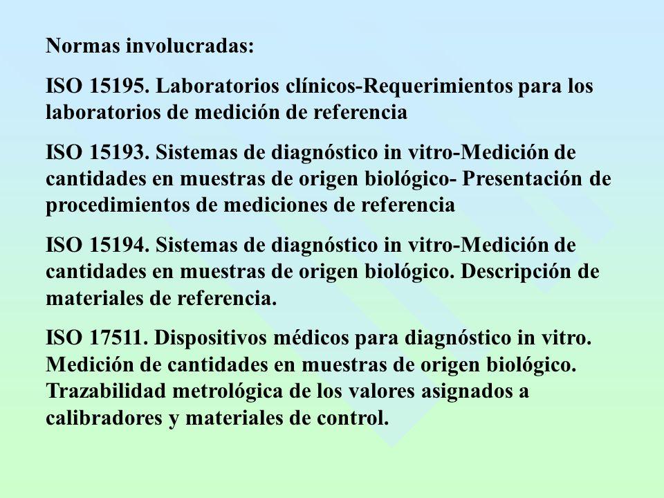 Normas involucradas: ISO 15195. Laboratorios clínicos-Requerimientos para los laboratorios de medición de referencia.