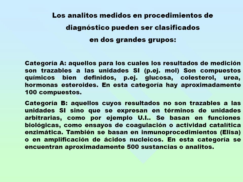 Los analitos medidos en procedimientos de