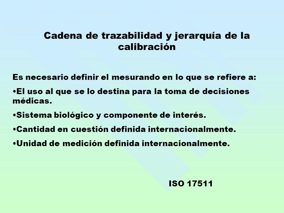 Cadena de trazabilidad y jerarquía de la calibración