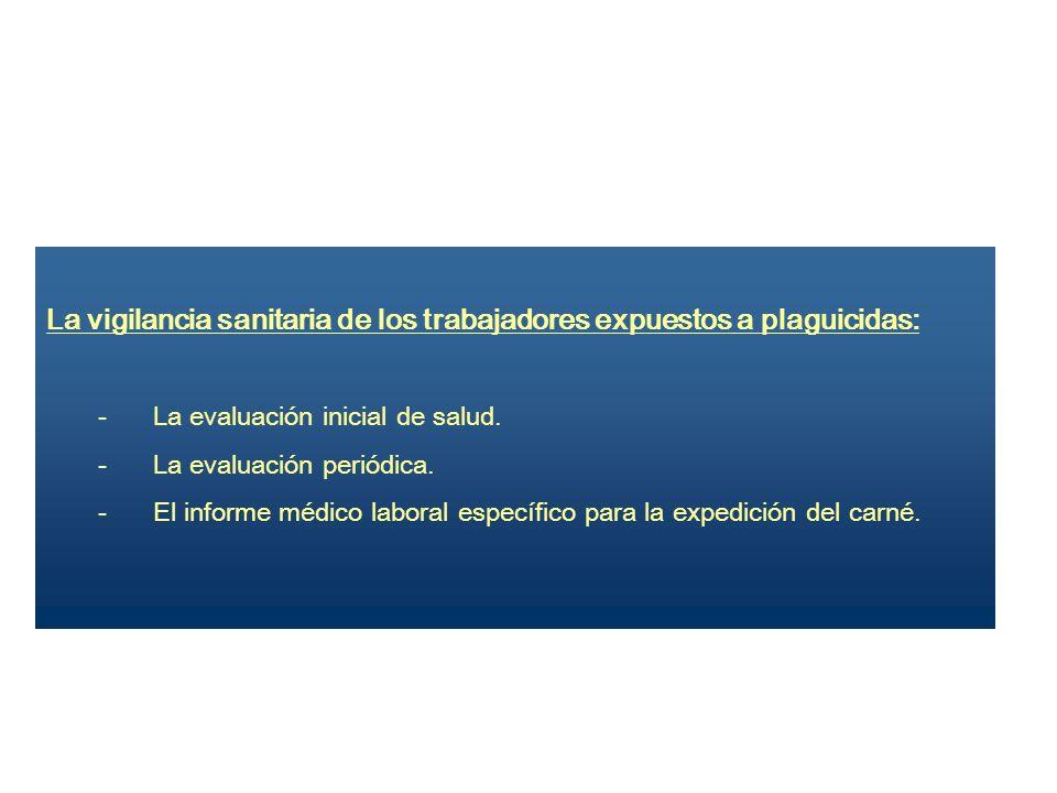 La vigilancia sanitaria de los trabajadores expuestos a plaguicidas: