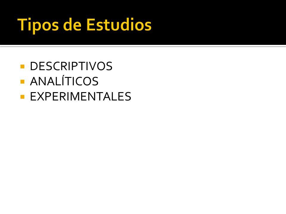 Tipos de Estudios DESCRIPTIVOS ANALÍTICOS EXPERIMENTALES