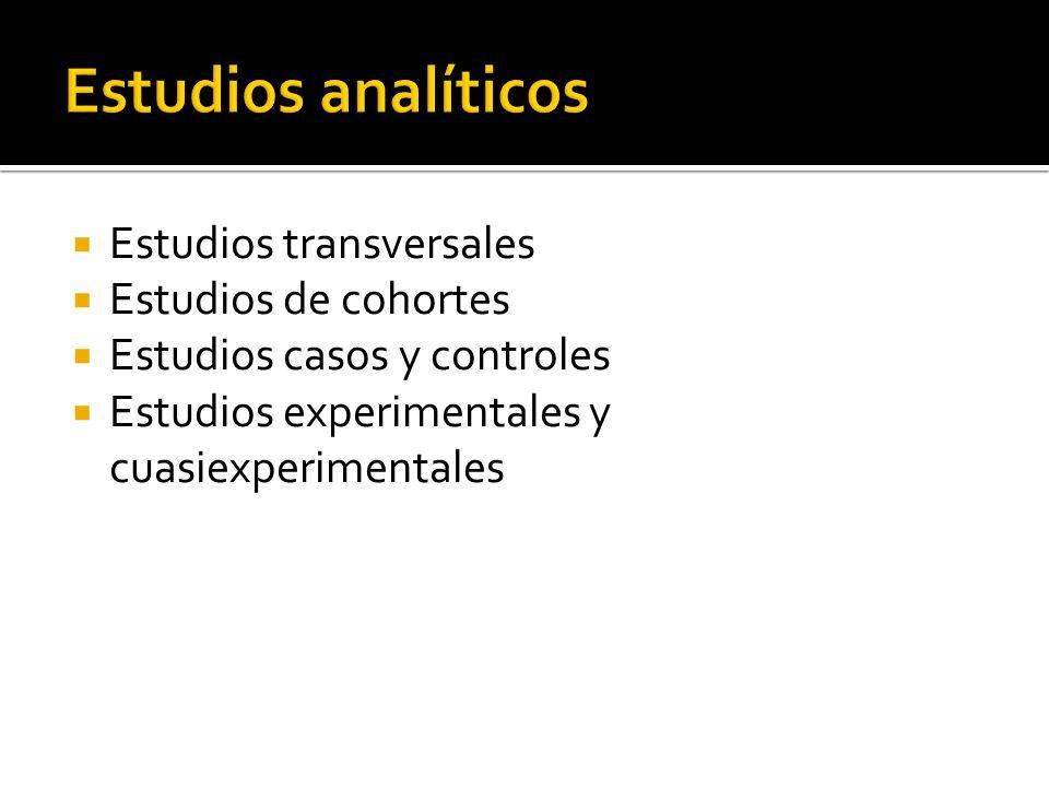 Estudios analíticos Estudios transversales Estudios de cohortes