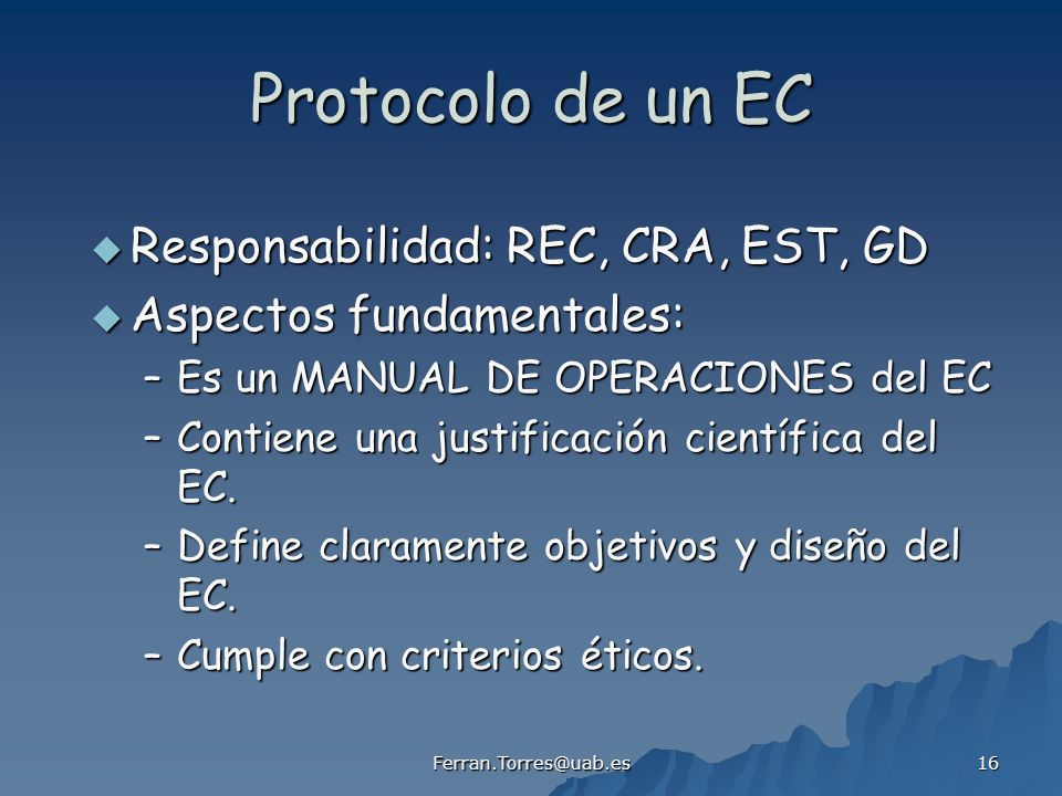 Protocolo de un EC Responsabilidad: REC, CRA, EST, GD