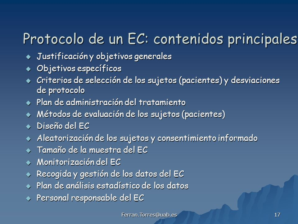Protocolo de un EC: contenidos principales