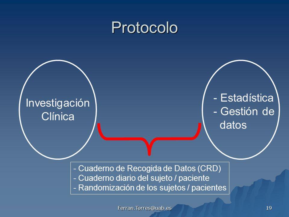 Protocolo - Estadística Investigación - Gestión de Clínica datos