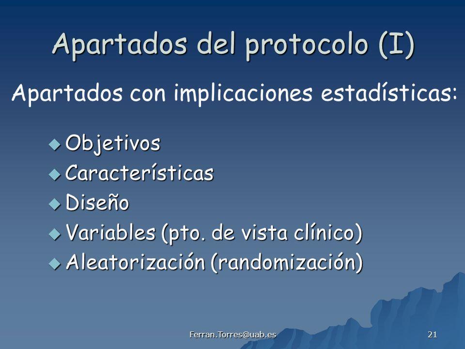 Apartados del protocolo (I)