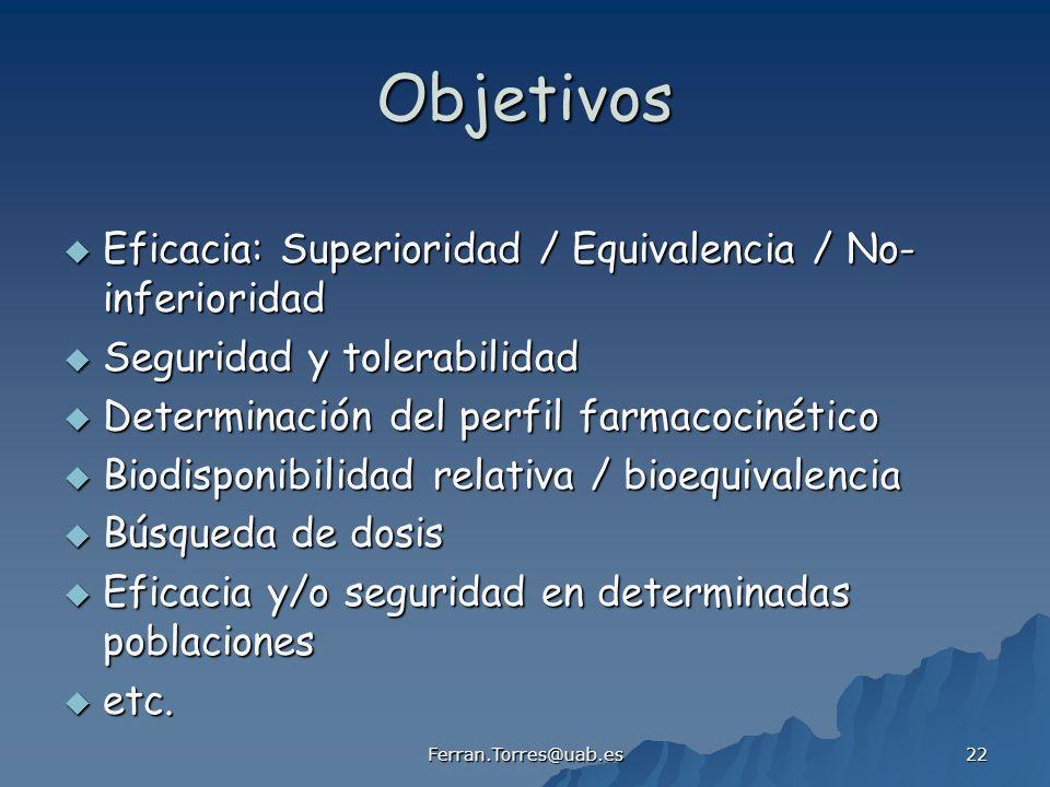 Objetivos Eficacia: Superioridad / Equivalencia / No-inferioridad
