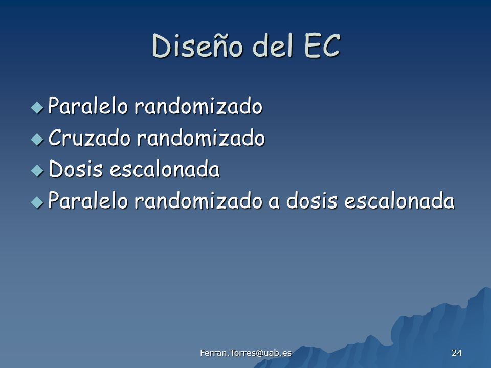 Diseño del EC Paralelo randomizado Cruzado randomizado