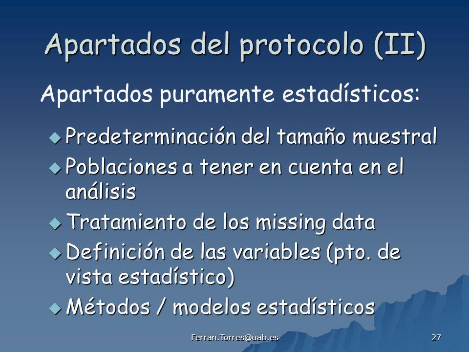 Apartados del protocolo (II)