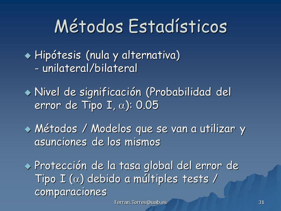 Métodos Estadísticos Hipótesis (nula y alternativa) - unilateral/bilateral.