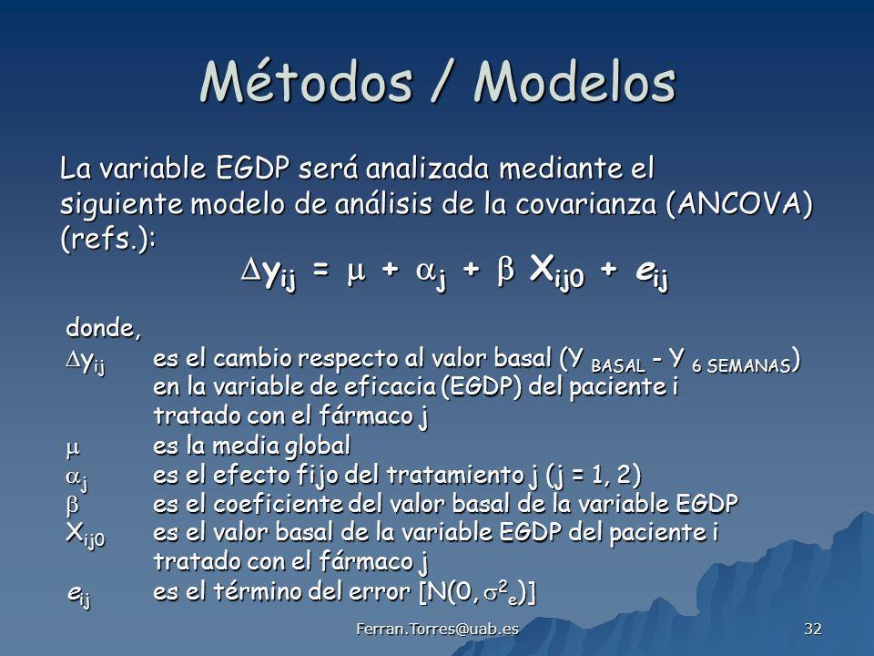 Métodos / Modelos La variable EGDP será analizada mediante el