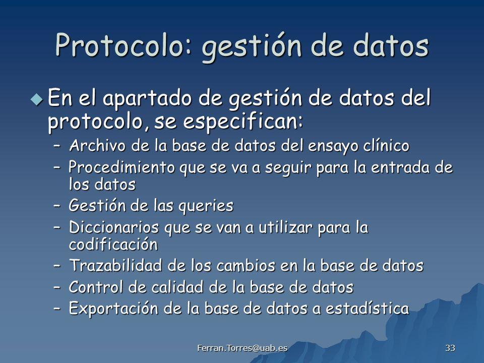 Protocolo: gestión de datos