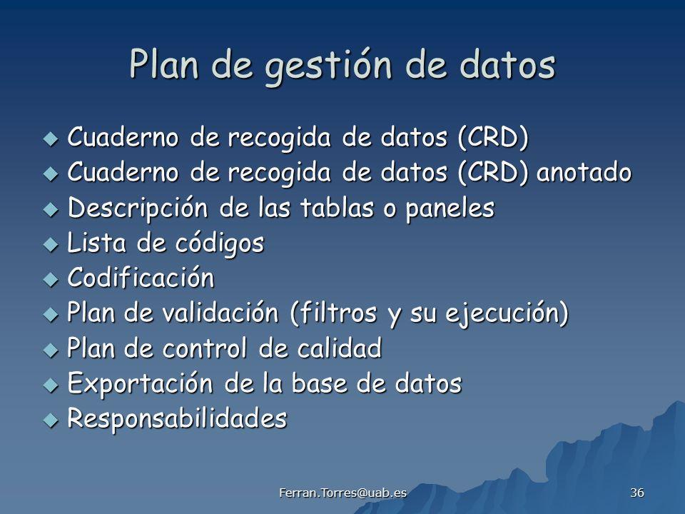Plan de gestión de datos