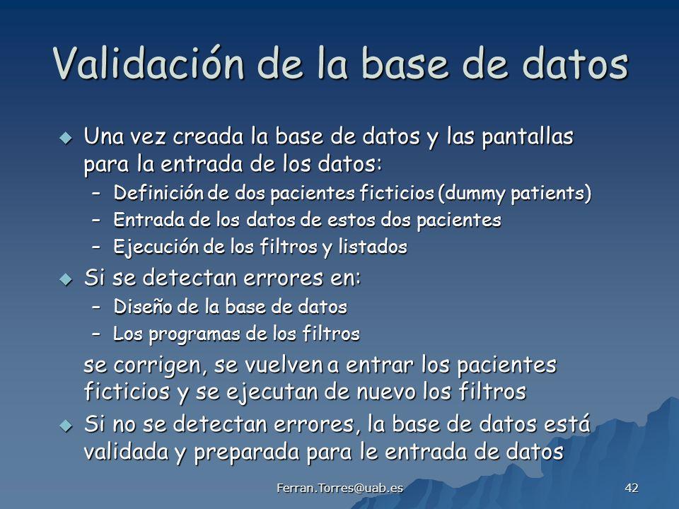 Validación de la base de datos
