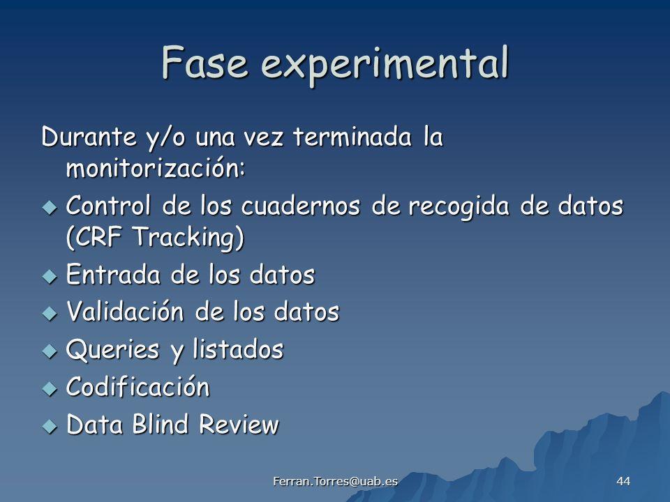 Fase experimental Durante y/o una vez terminada la monitorización: