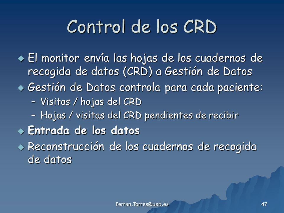 Control de los CRD El monitor envía las hojas de los cuadernos de recogida de datos (CRD) a Gestión de Datos.