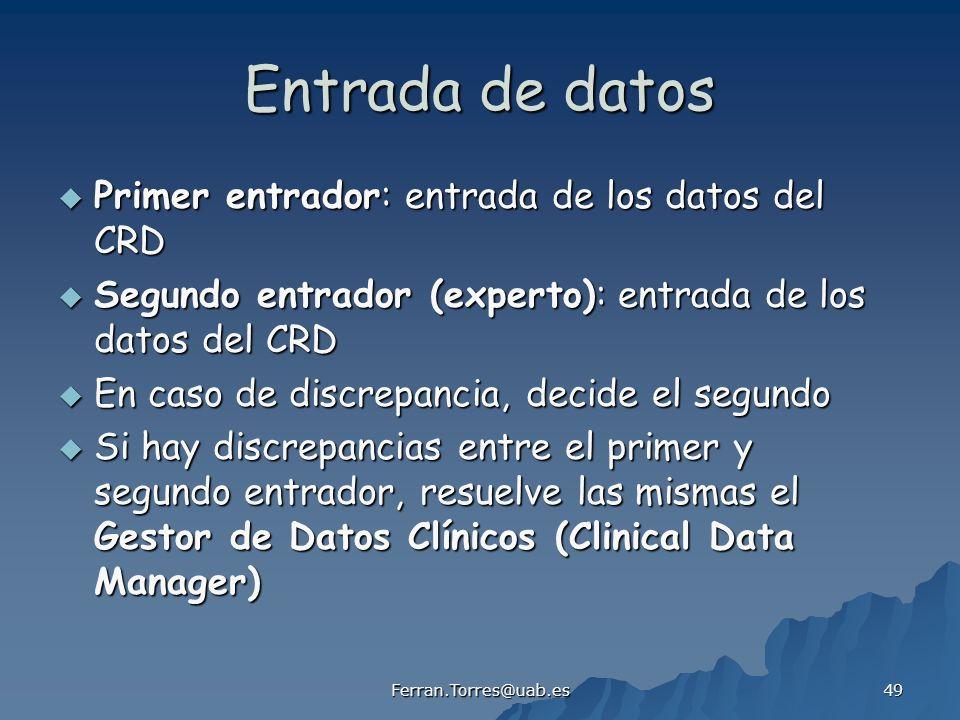 Entrada de datos Primer entrador: entrada de los datos del CRD