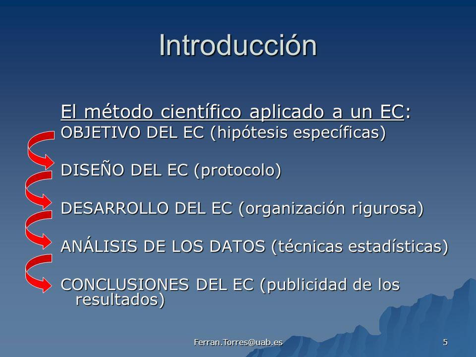 Introducción El método científico aplicado a un EC: