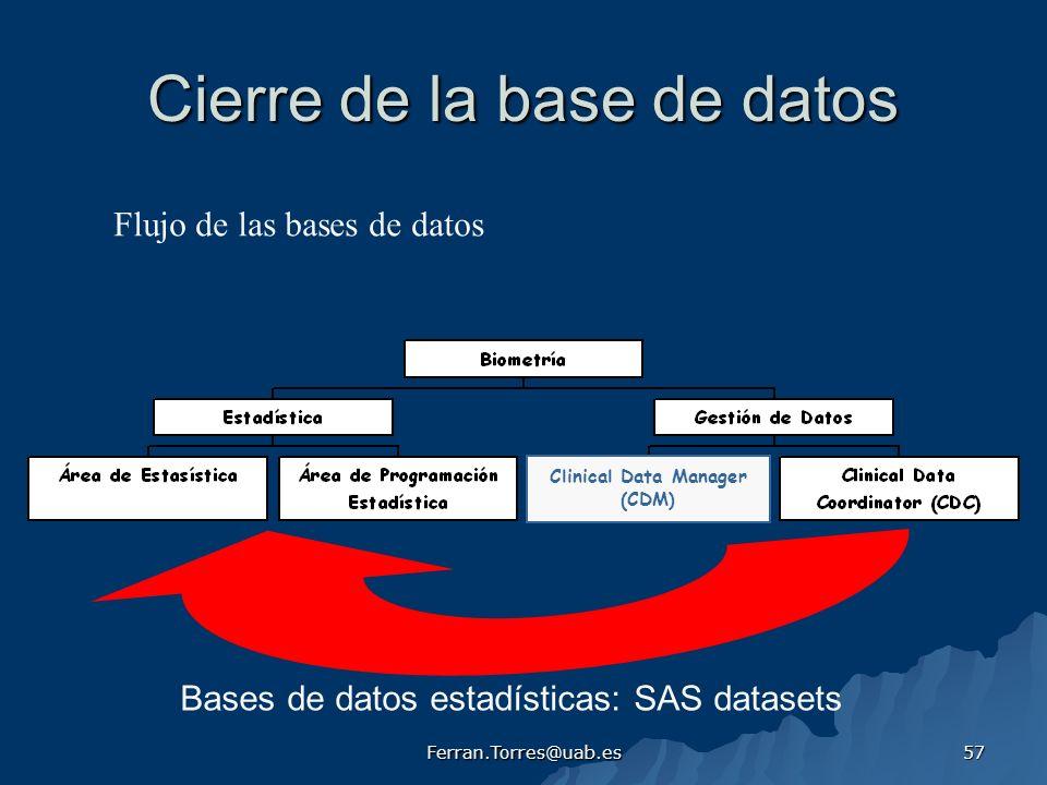 Cierre de la base de datos