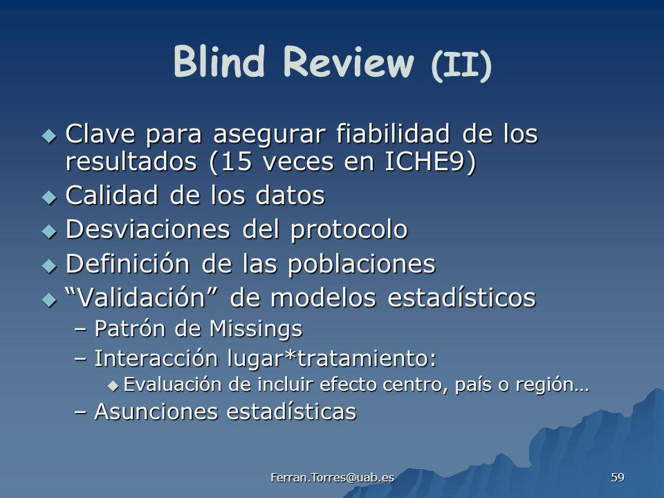 Blind Review (II) Clave para asegurar fiabilidad de los resultados (15 veces en ICHE9) Calidad de los datos.