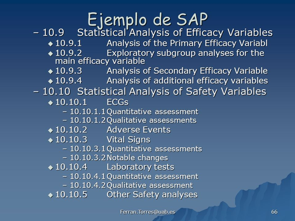 Ejemplo de SAP 10.9 Statistical Analysis of Efficacy Variables