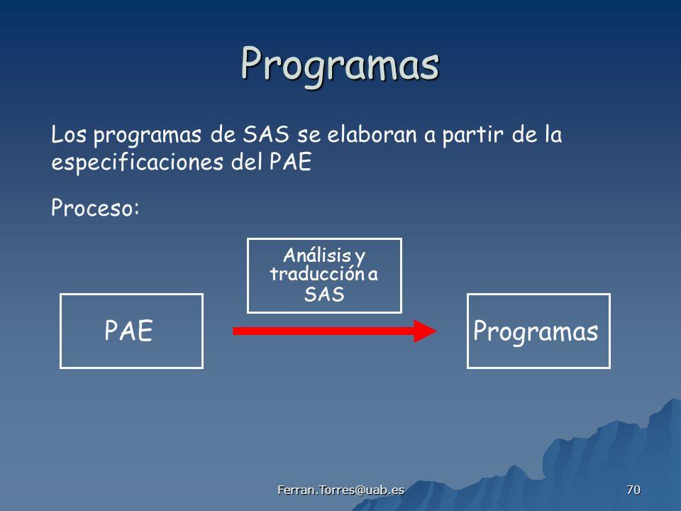 Programas PAE Programas