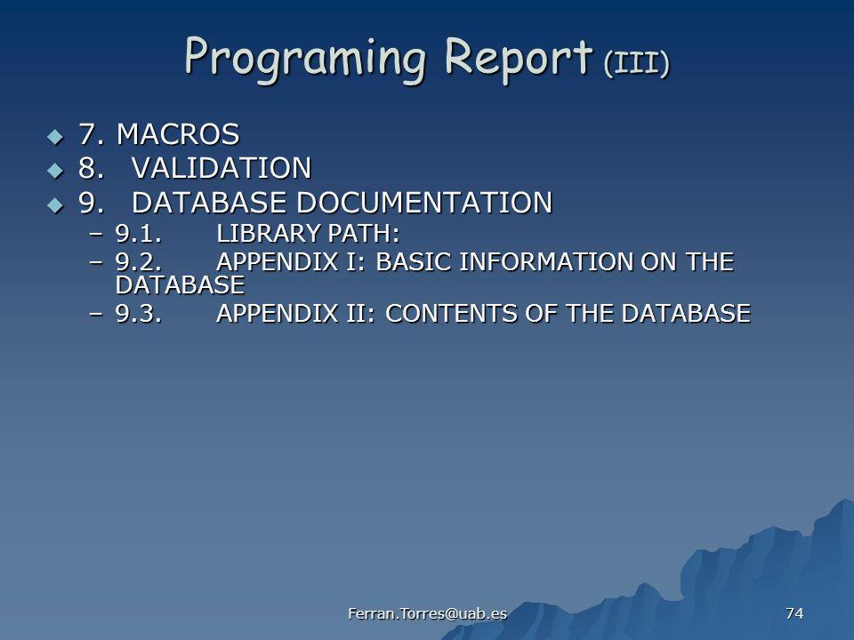 Programing Report (III)