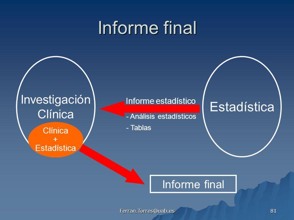 Informe final Estadística Investigación Clínica Informe final
