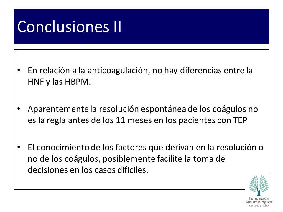 Conclusiones II En relación a la anticoagulación, no hay diferencias entre la HNF y las HBPM.