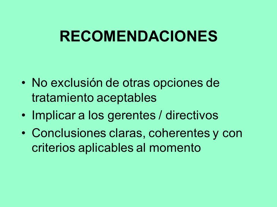 RECOMENDACIONES No exclusión de otras opciones de tratamiento aceptables. Implicar a los gerentes / directivos.