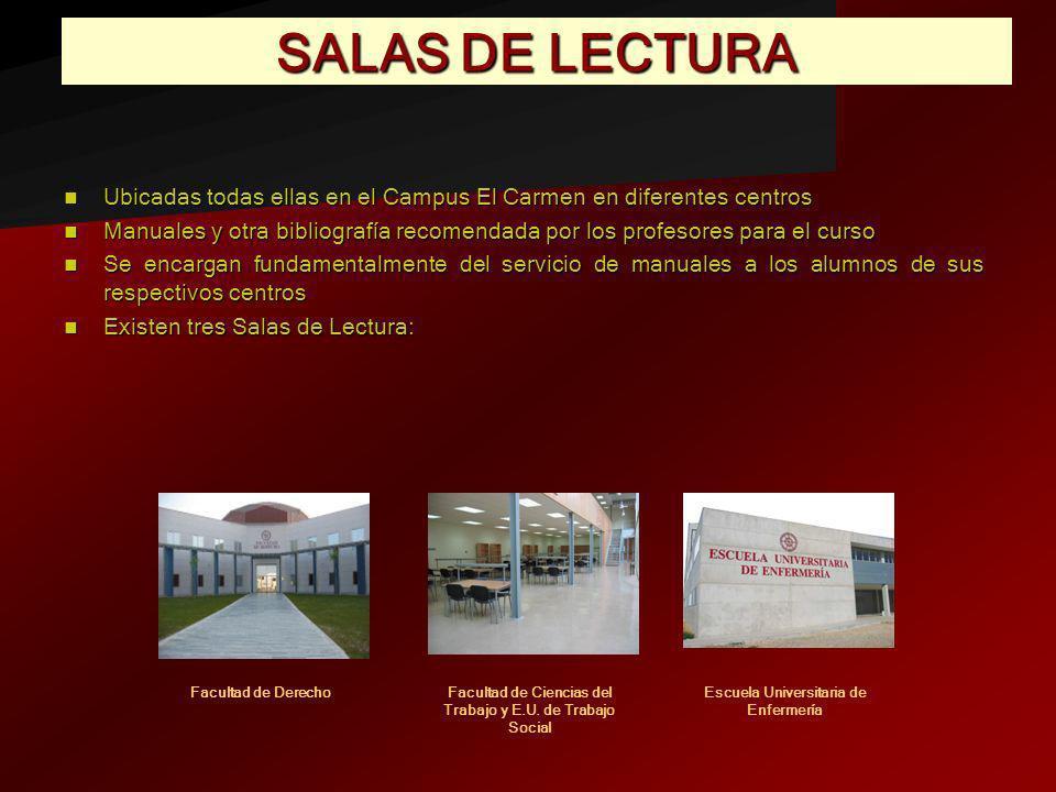 SALAS DE LECTURAUbicadas todas ellas en el Campus El Carmen en diferentes centros.