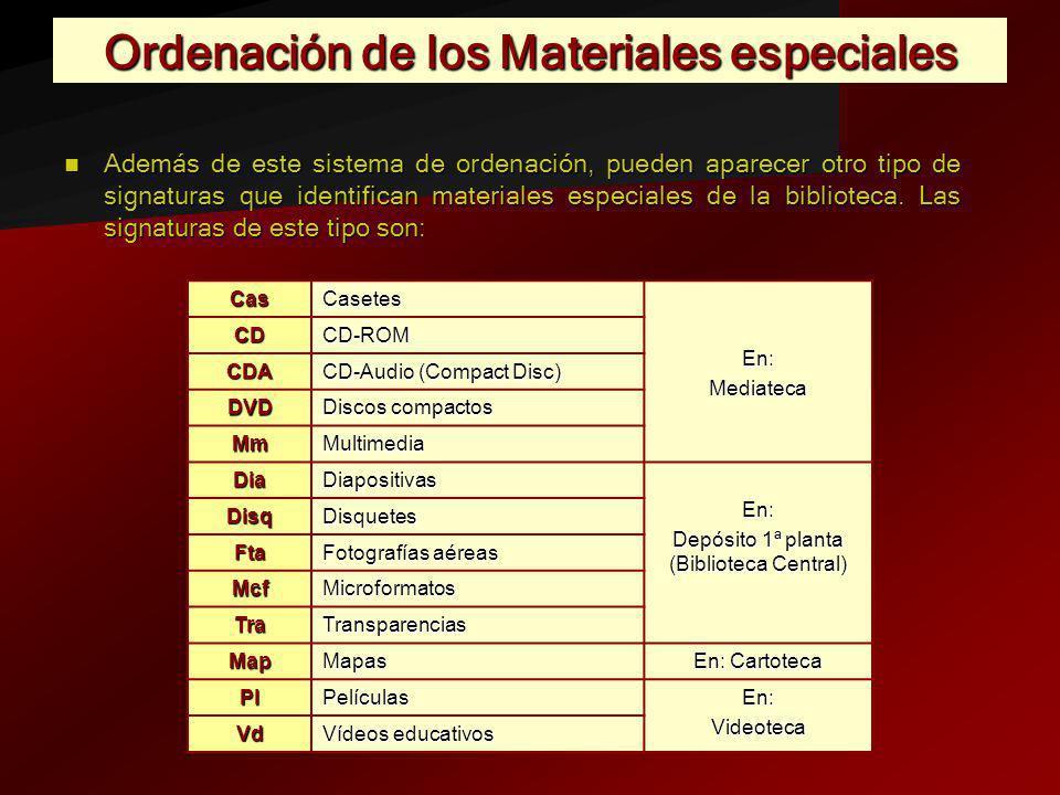 Ordenación de los Materiales especiales