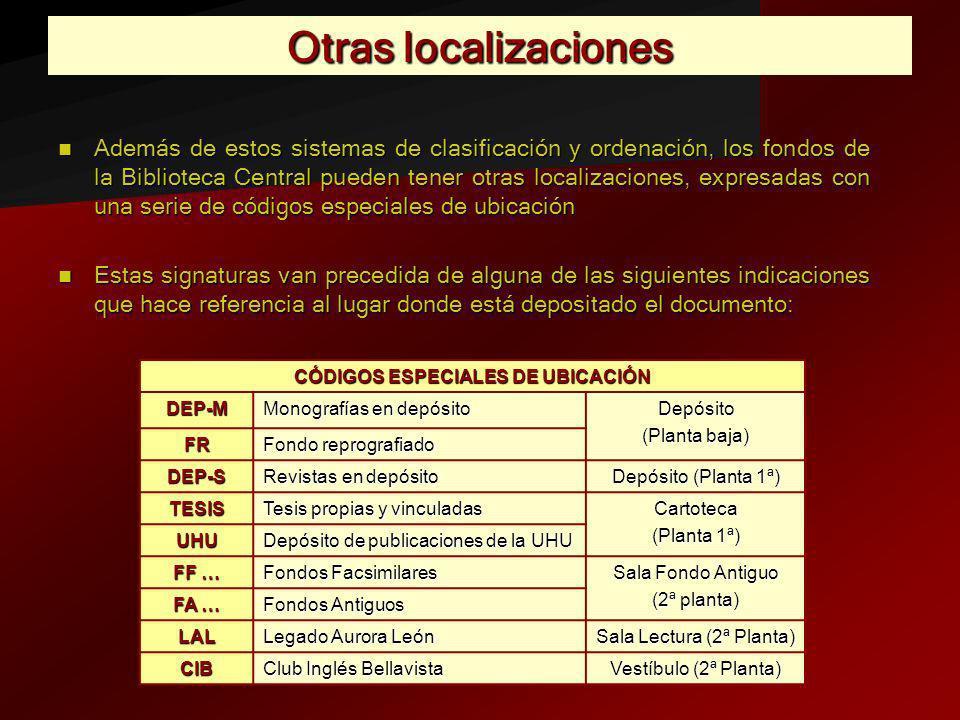 CÓDIGOS ESPECIALES DE UBICACIÓN