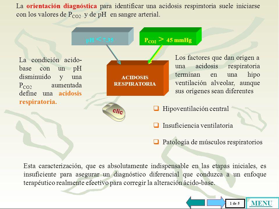 La orientación diagnóstica para identificar una acidosis respiratoria suele iniciarse con los valores de PCO2 y de pH en sangre arterial.