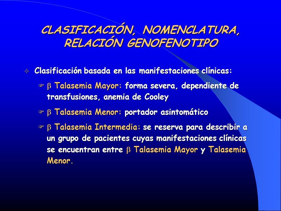 CLASIFICACIÓN, NOMENCLATURA, RELACIÓN GENOFENOTIPO