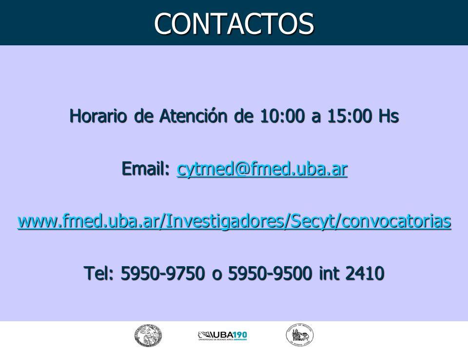 Horario de Atención de 10:00 a 15:00 Hs