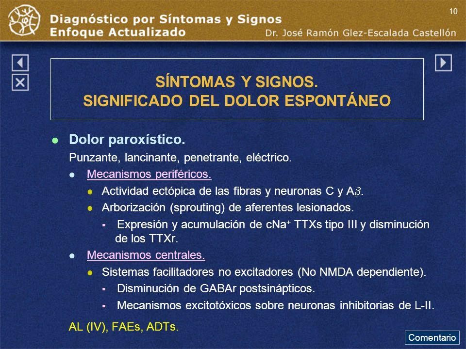 SÍNTOMAS Y SIGNOS. SIGNIFICADO DEL DOLOR ESPONTÁNEO