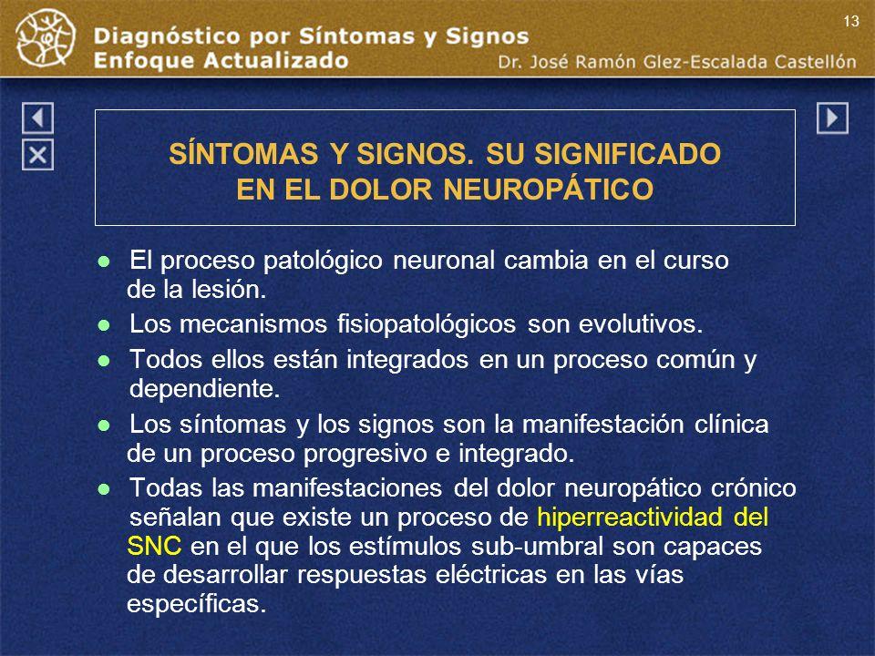 SÍNTOMAS Y SIGNOS. SU SIGNIFICADO EN EL DOLOR NEUROPÁTICO