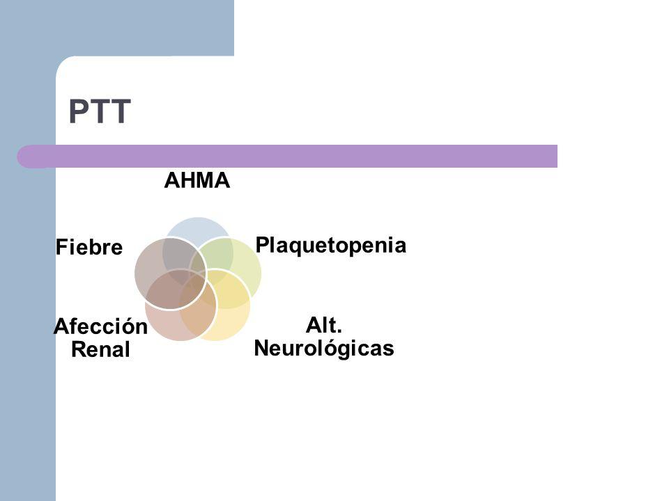 PTT AHMA Plaquetopenia Alt. Neurológicas Afección Renal Fiebre
