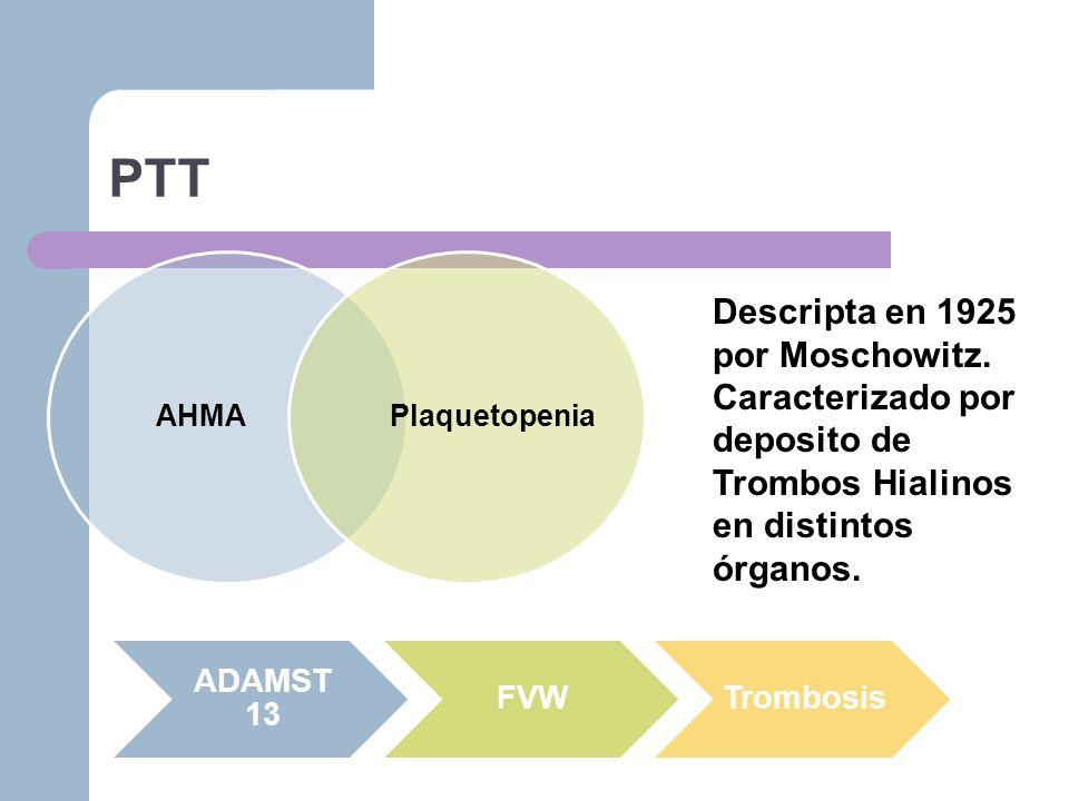 PTT Descripta en 1925 por Moschowitz.