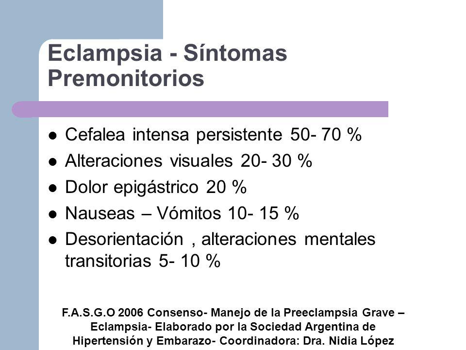 Eclampsia - Síntomas Premonitorios