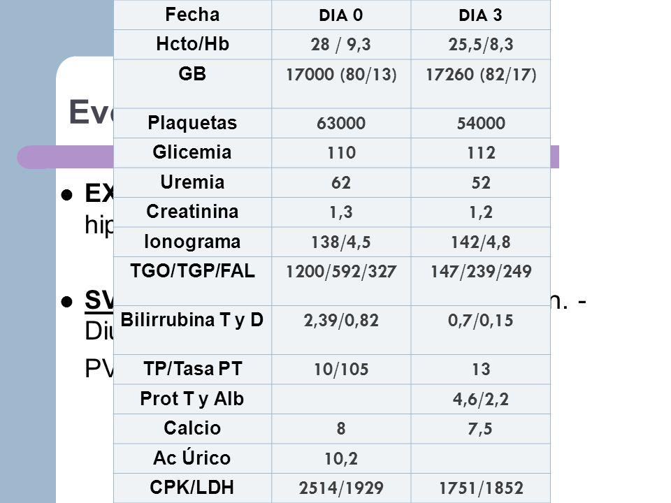 FechaDIA 0. DIA 3. Hcto/Hb. 28 / 9,3. 25,5/8,3. GB. 17000 (80/13) 17260 (82/17) Plaquetas. 63000. 54000.