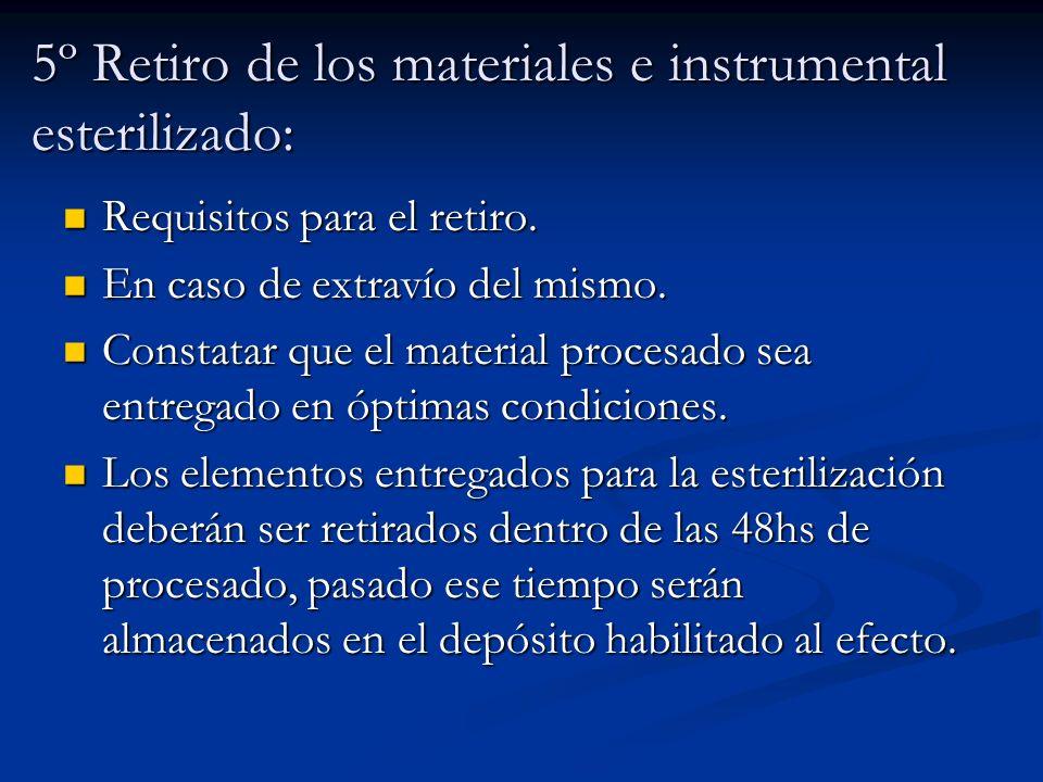 5º Retiro de los materiales e instrumental esterilizado:
