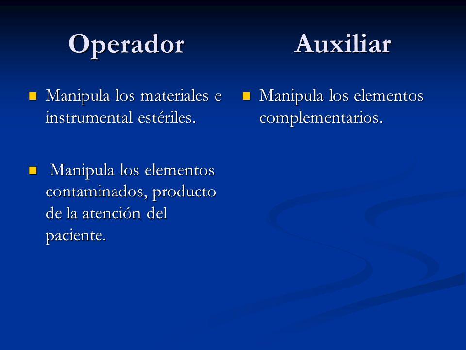 Operador Auxiliar Manipula los materiales e instrumental estériles.