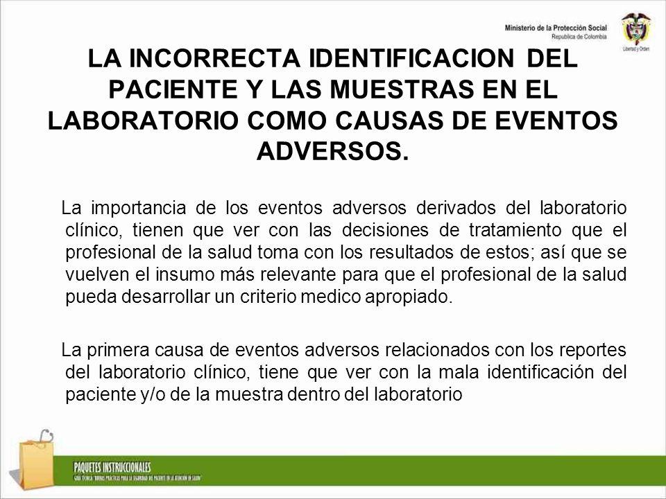 LA INCORRECTA IDENTIFICACION DEL PACIENTE Y LAS MUESTRAS EN EL LABORATORIO COMO CAUSAS DE EVENTOS ADVERSOS.
