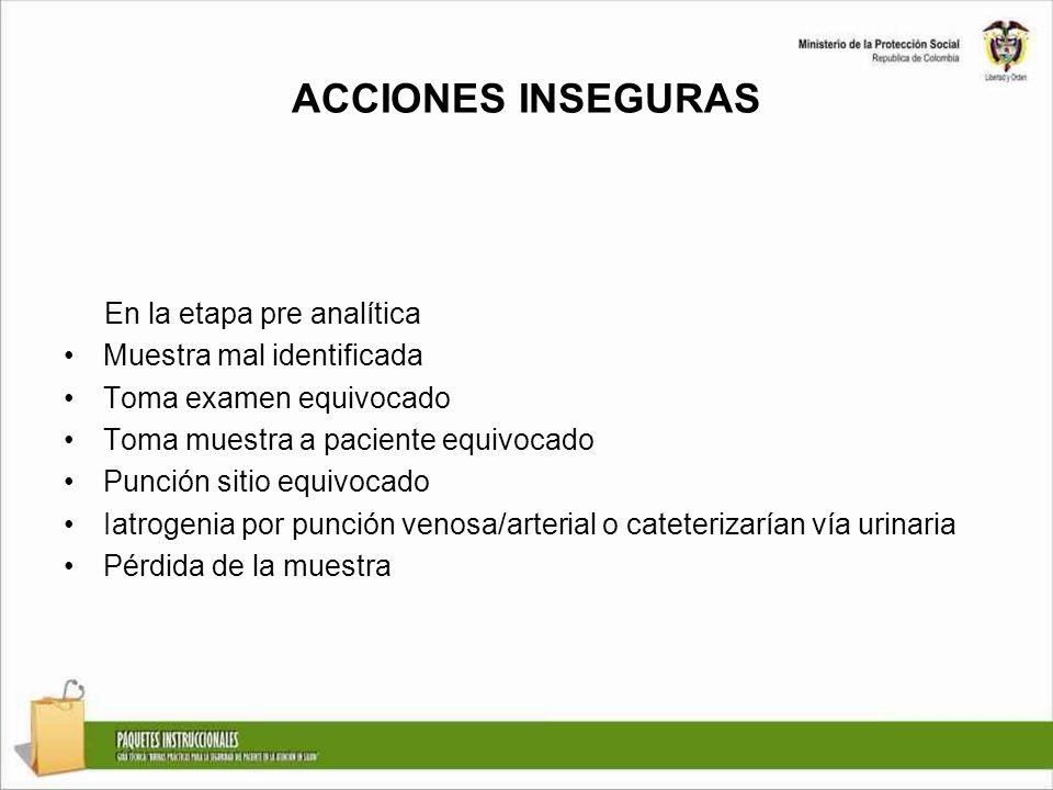 ACCIONES INSEGURAS En la etapa pre analítica Muestra mal identificada