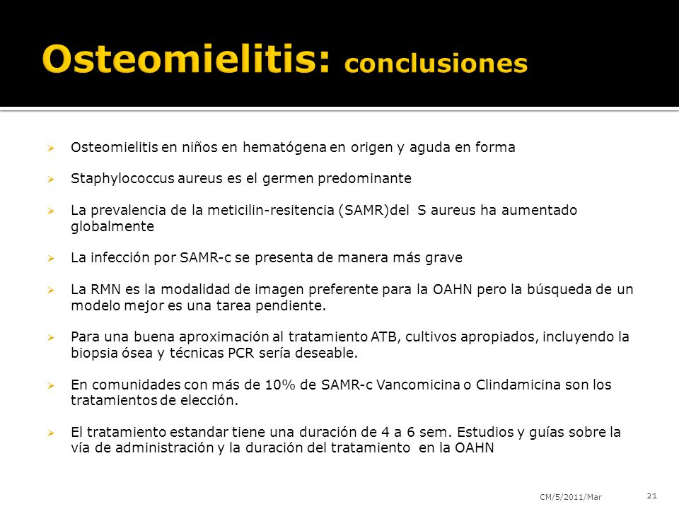 Osteomielitis: conclusiones