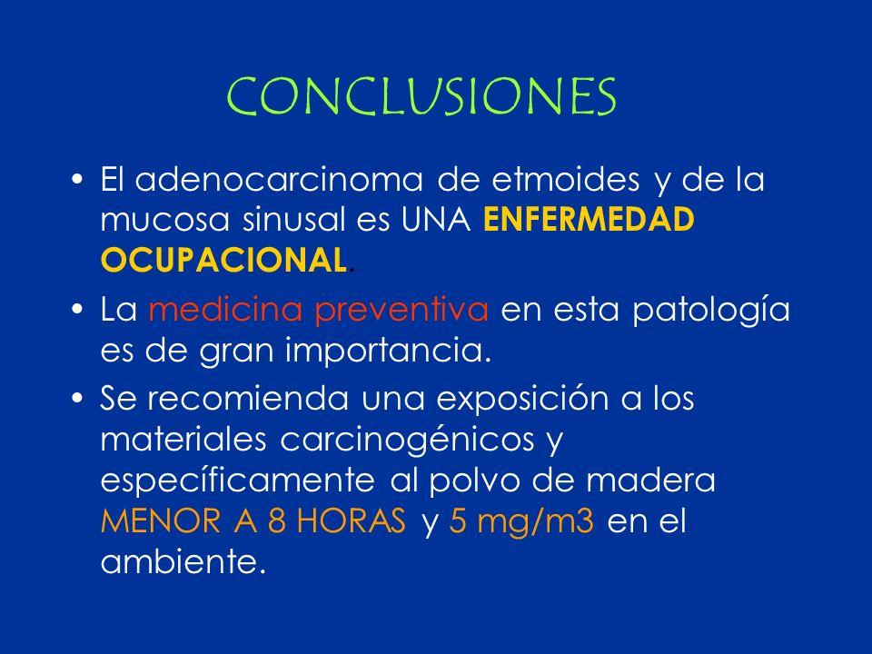 CONCLUSIONES El adenocarcinoma de etmoides y de la mucosa sinusal es UNA ENFERMEDAD OCUPACIONAL.